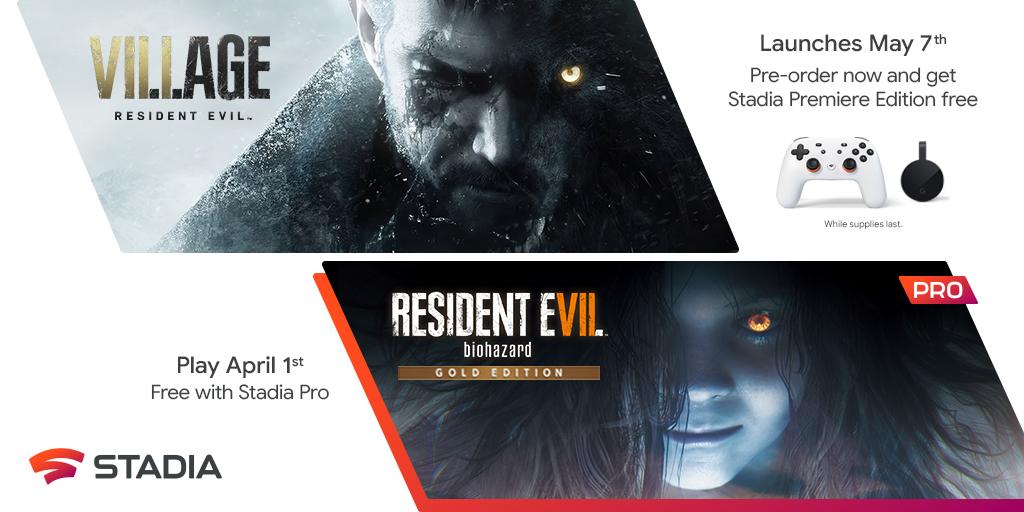 Resident Evil Village e Resident Evil 7 no Google Stadia